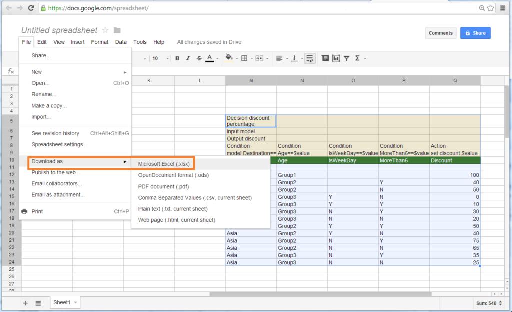 Decision Table Google Doc